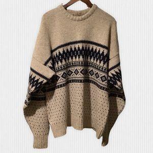 Vintage London Fog Outdoors Beige & Navy Wool Blend Nordic Sweater XL